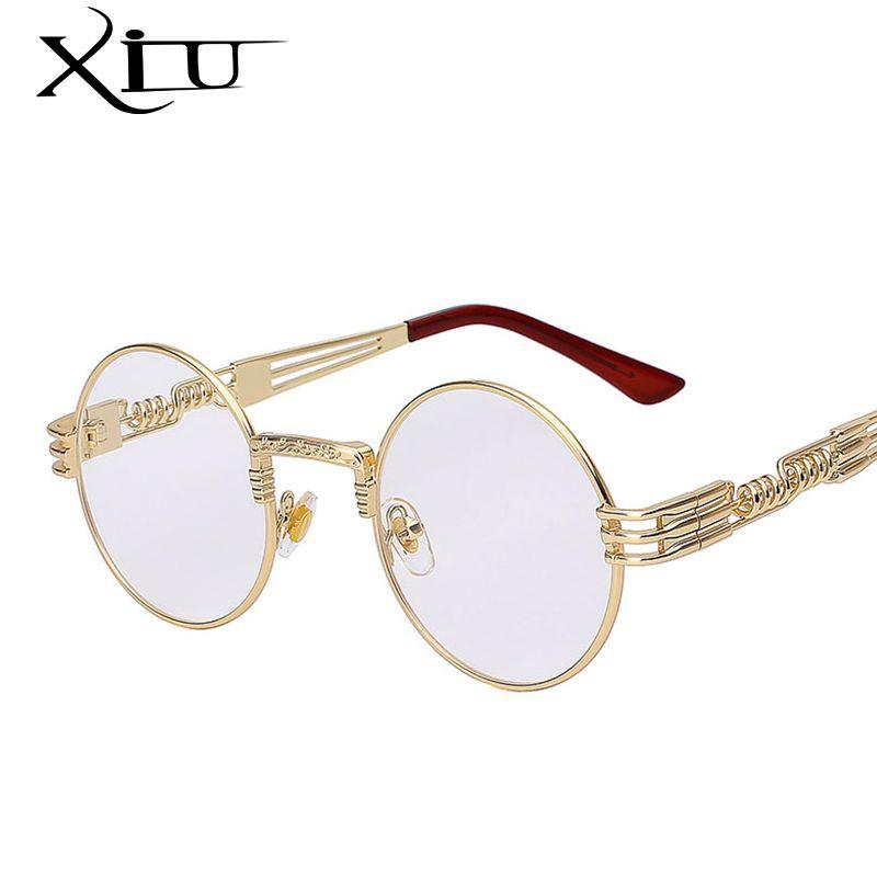 Gothique lunettes de soleil steampunk homme femme Métal WrapEyeglasses Ronde Nuances Marque Designer lunettes de soleil Miroir qualité supérieure UV400