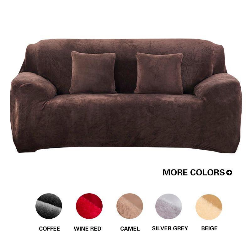 Gris/solide couleur peluche canapé couverture élastique canapé housse extensible canapé couverture coin sectionnel l-forme canapé couverture pour salon
