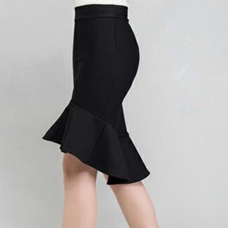 Printemps et été taille haute slim hanche jupe femme buste jupe à volants slim mitripes poisson queue jupe étape jupe