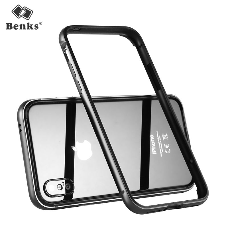 Banks Luxury Phone Cover For iPhone X Case Bumper Aluminum TPU Back Drop Border Frame Case Cover For iPhone X Coque Funda Black