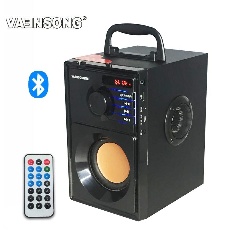 VAENSONG Stereo Wooden Subwoofer Bluetooth Speaker FM Radio Portable Speakers Mp3 Play Super Bass <font><b>Loudspeaker</b></font> computer Column