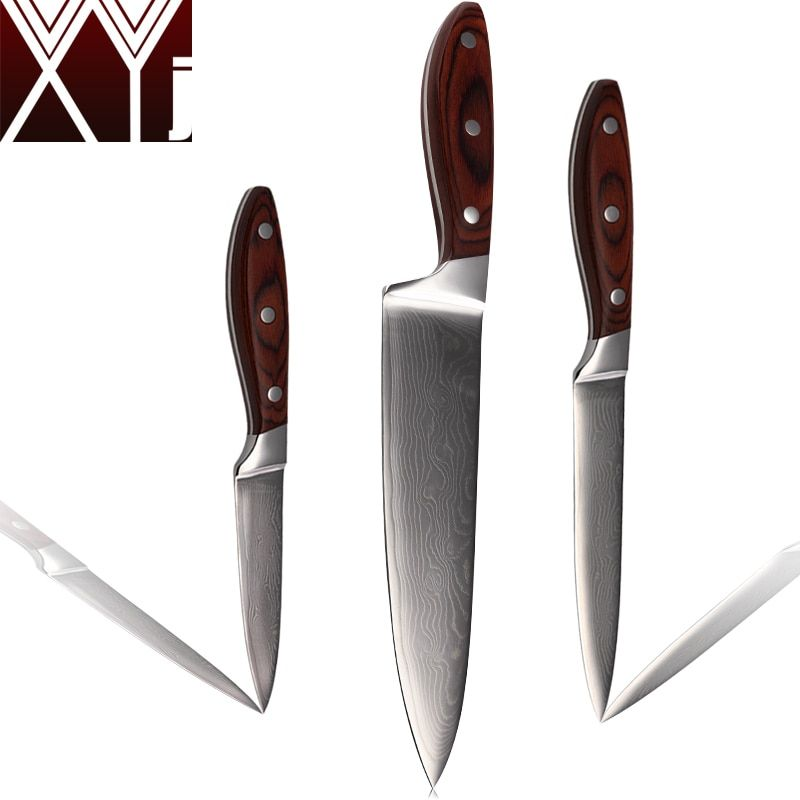 XYJ Damascus Knives 8 Inch Chef 5 Inch Utility 3.5 Inch Paring Knife 71 Layers Of Damascus Steel Kitchen Knives Cooking Tools