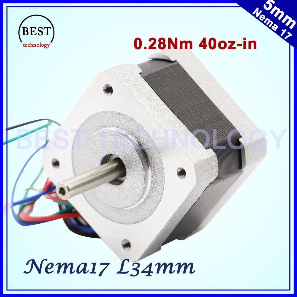 Livraison gratuite! Nema17 moteur pas à pas 42x34mm 0.4A 0.28N.m 1.8 degrés 40Oz-in Nema 17 4-plomb Pour 3D imprimante Pour CNC! 42HS3404A4