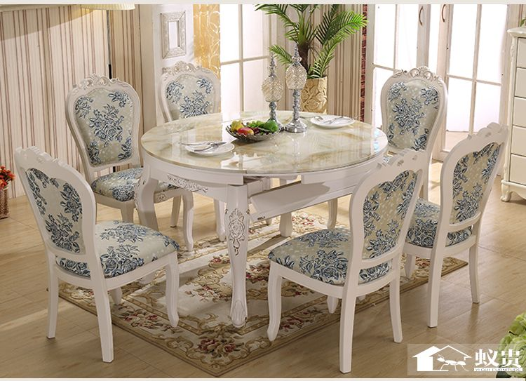 Luxury wooden dining room extendable table and chair with carving H801