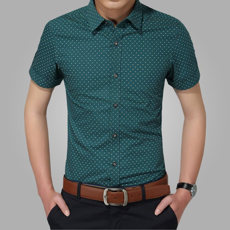 2018 nouveaux hommes chemises marque Turn-down col Slim Fit hommes Chemise Homme décontracté été plage Dot Chemise à manches courtes imprimé 5XL