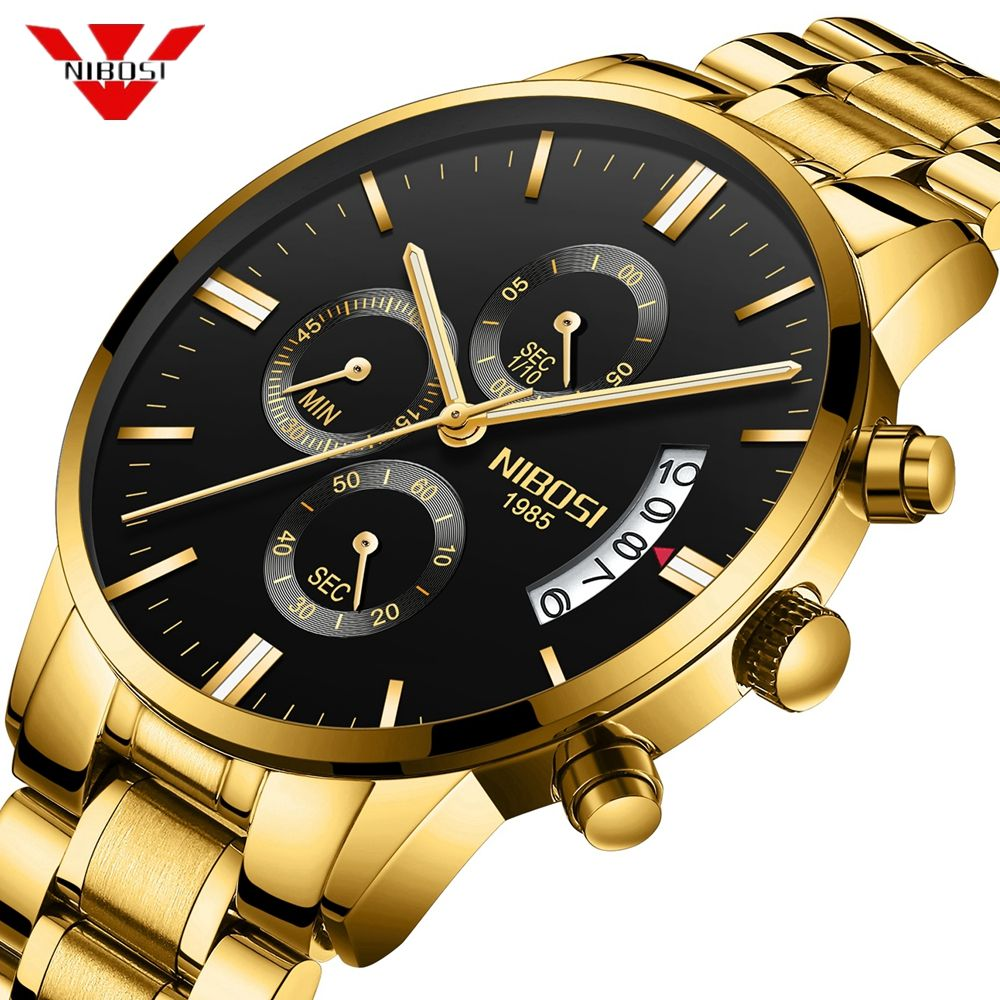 NIBOSI hommes montre chronographe Sport hommes montres haut de gamme de luxe étanche plein acier Quartz or horloge hommes Relogio Masculino