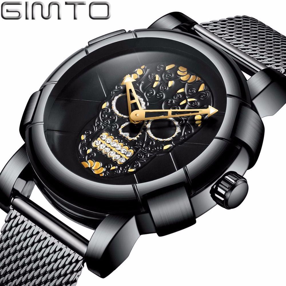 GIMTO 2018 Luxury Skull Men Watch Black Gold Brand Creative Quartz Male Boy Casual Wrist Watches Sport Clock Relogio Masculino