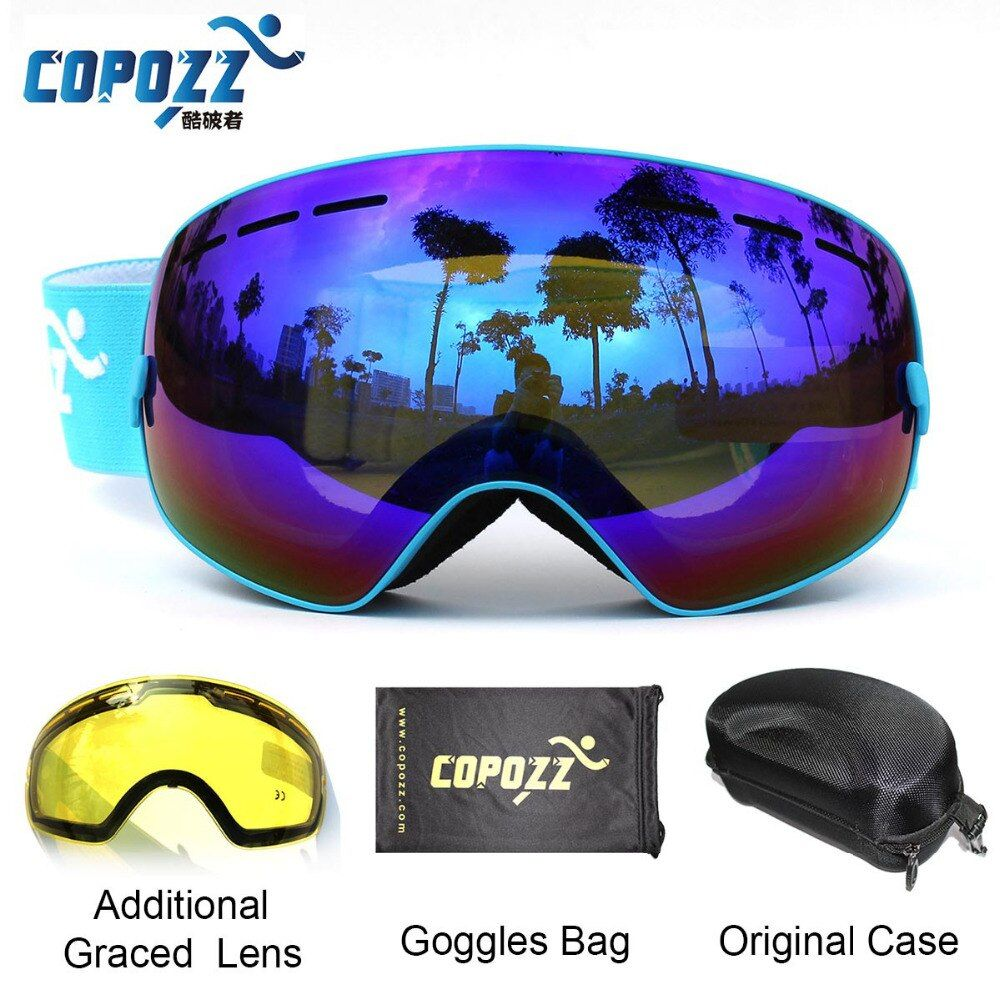 COPOZZ Ski Goggles with Case & Yellow Lens UV400 Anti-fog Spherical ski <font><b>glasses</b></font> skiing men women snow goggles + Lens + Box Set