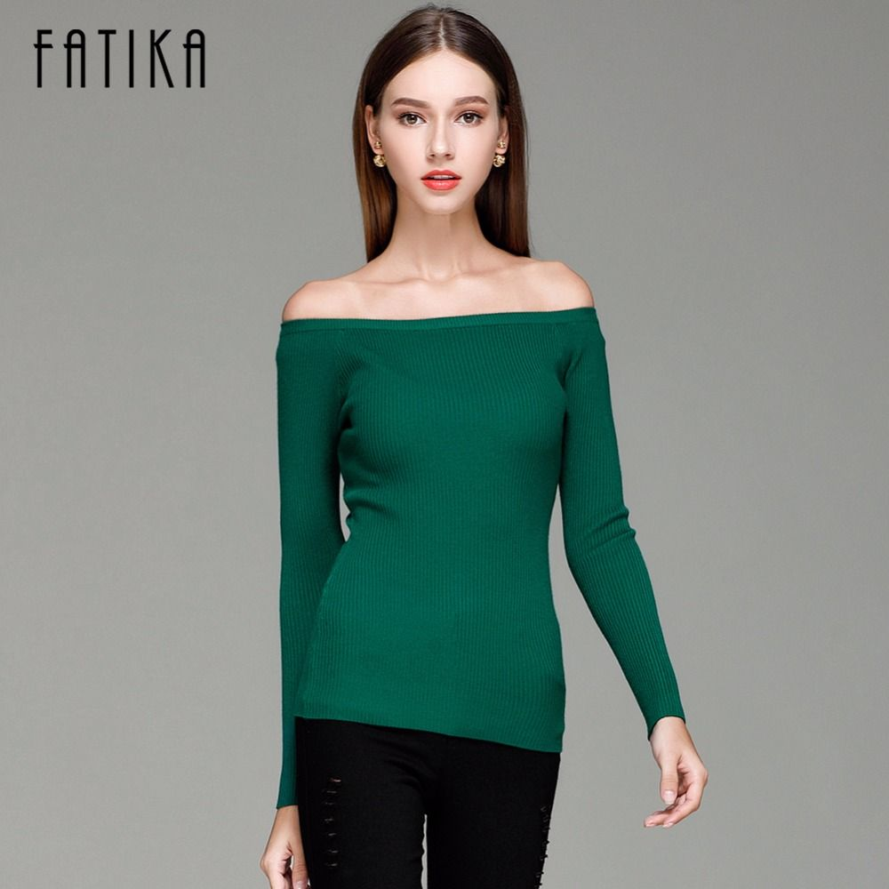 FATIKA Autumn and Winter Basic Women Sweater slit neckline Strapless Sweater thickening Sweater Off Shoulder Pullover Sweaters