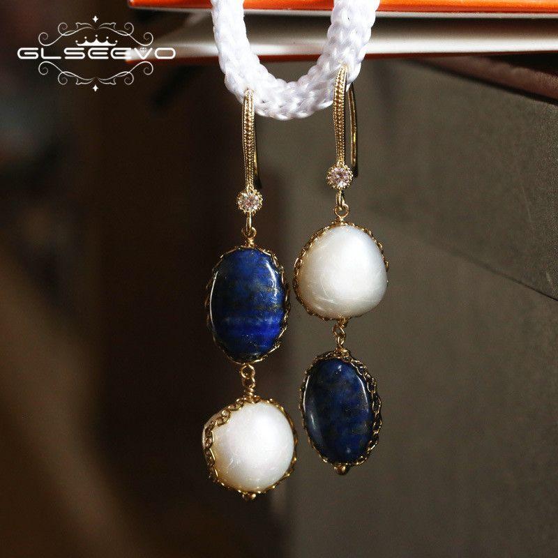GLSEEVO Natural Stone Lapis Lazuli Water Drop Earrings Fresh Water Baroque Pearl Long Dangle Earring Women Luxury Jewelry GE0406
