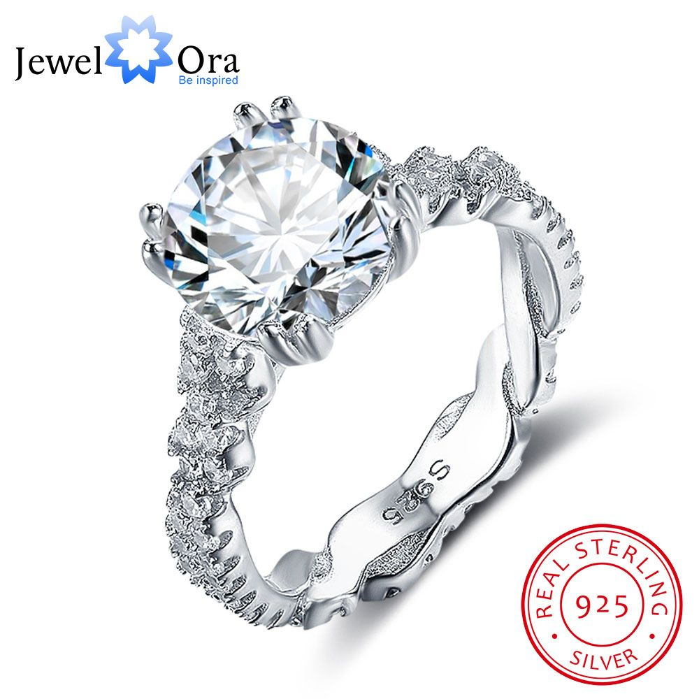 Engagement Ring 10mm 3.5 CT Hearts Arrows CZ 925 Sterling Silver Rings For Women Best Gift for Girlfriend(JewelOra RI102327)