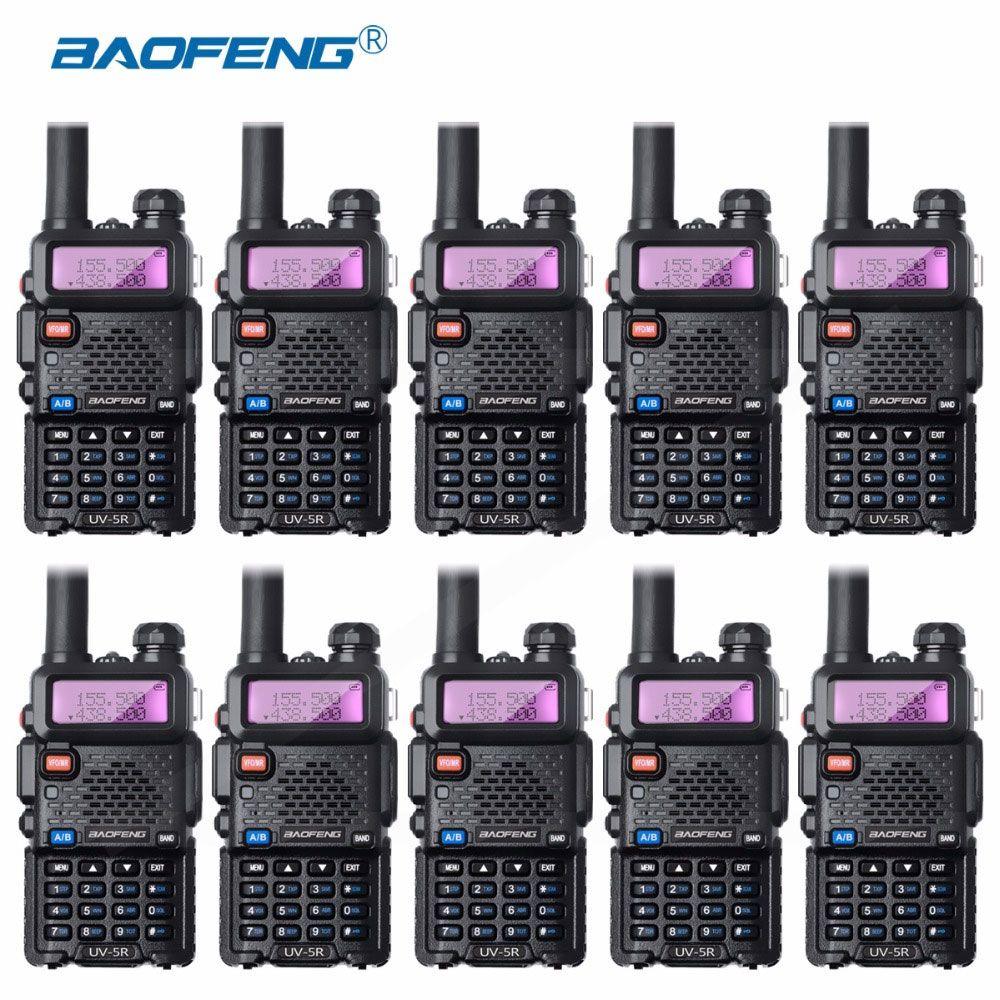 10 Pcs Bao Feng UV-5R Talkie-walkie Gros Baofeng UV5R CB Radio VHF UHF Dual Band Two Way Radio 5 W VOX lampe de Poche Ham Radio