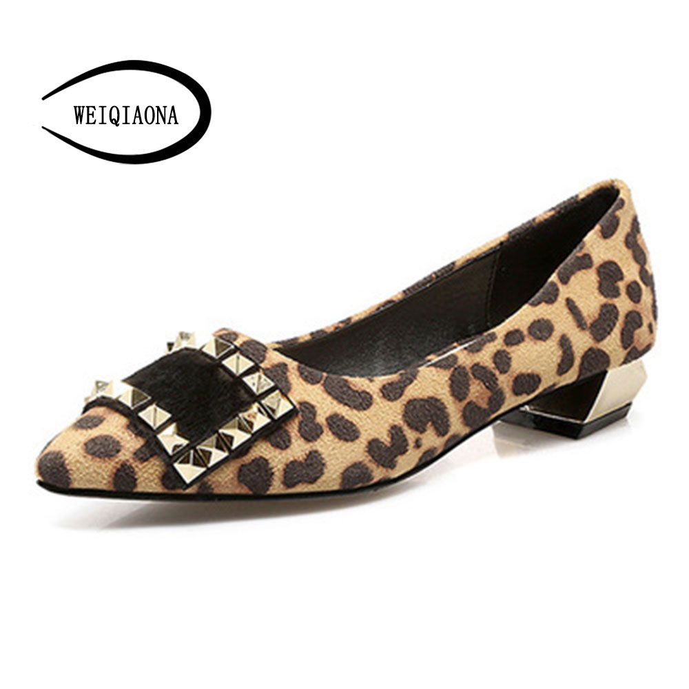 WEIQIAONA Woman flat shoes rivets with horsehair square buckle shallow low heel <font><b>Pointed</b></font> toe spring and summer fashion sexy shoes