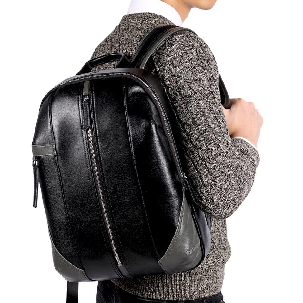 Pabojoe бренд кожаный рюкзак Для мужчин Повседневное Mochila черный Для мужчин сумка для ноутбука для школьников плеча