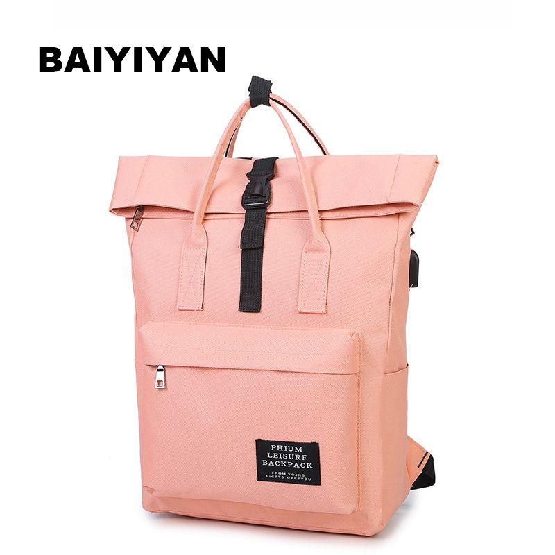 Neue 2017 Frauen Mädchen Rucksack USB Lade Nylon Rucksäcke Schultaschen Für Jugendliche Mädchen Studenten Satchel