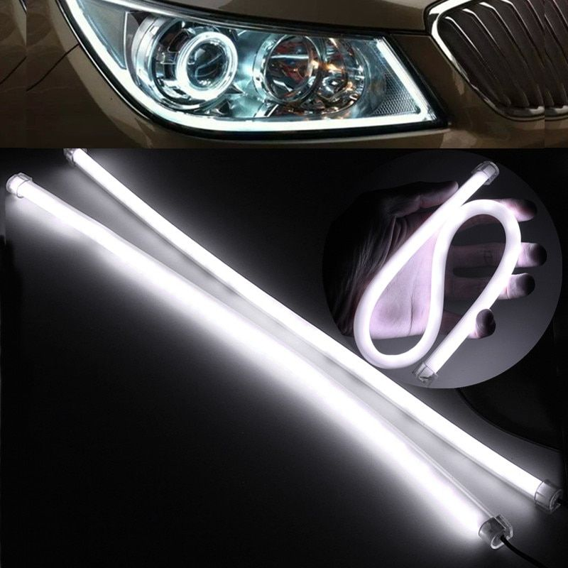 2PCS 45CM Gel Silicon Pure White Flexible Soft Tube Guide IP65 3020 SMD 57 LED Car Strip Lamp DRL Daytime Running Light DC12V