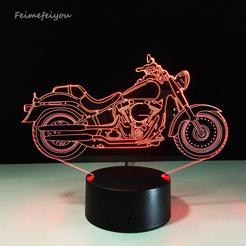 Livraison gratuite 1 pièce Design 3D moto forme veilleuse décoration de la maison changement de couleur atmosphère lampe avec chargeur USB