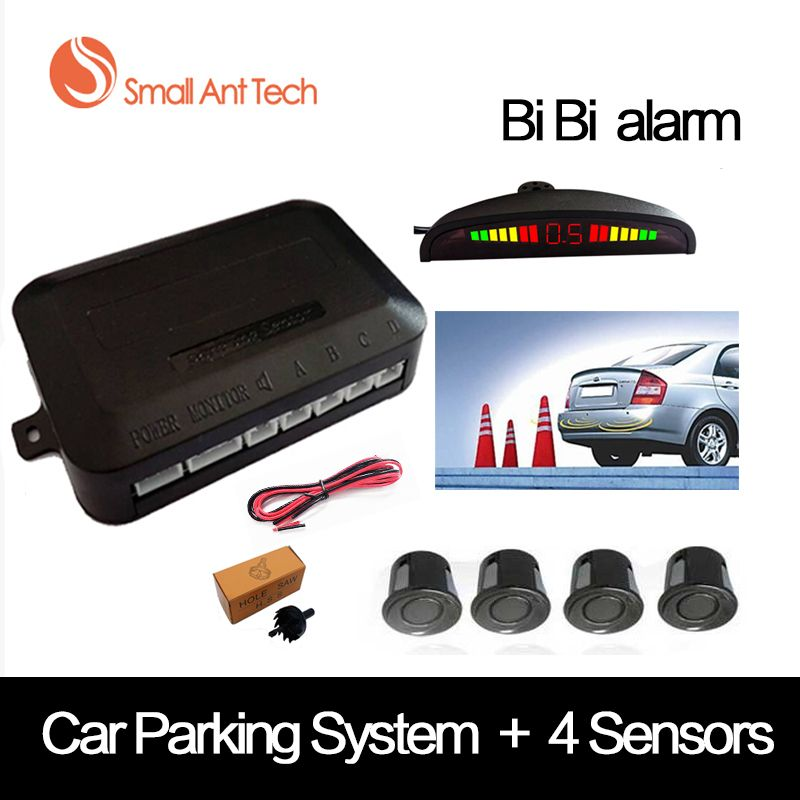 <font><b>SmallAntTeach</b></font> Universal Car LED Parking Sensor With 4 Sensors Car Sensor Reverse Assistance Backup Radar Monitor Detector System