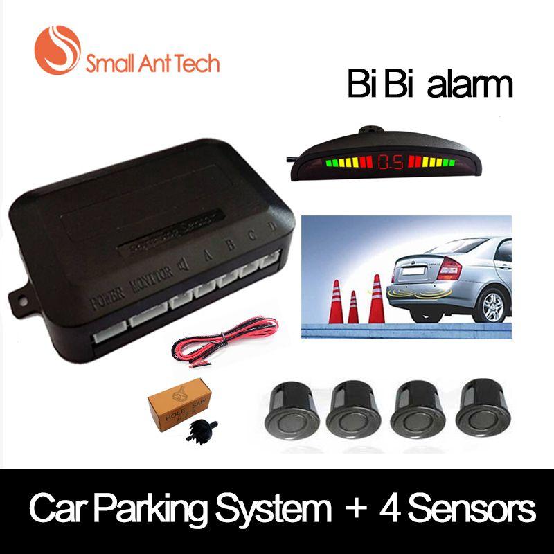 SmallAntTeach Universal Car LED Parking <font><b>Sensor</b></font> With 4 <font><b>Sensors</b></font> Car <font><b>Sensor</b></font> Reverse Assistance Backup Radar Monitor Detector System