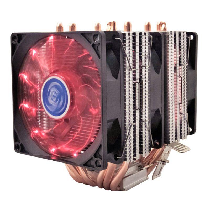 4 6 heatpipe CPU cooler Intel 775/1150/1151/1155/1156/1366 2011 AMD 4pin dual-tower cooling 9 cm fan LED light