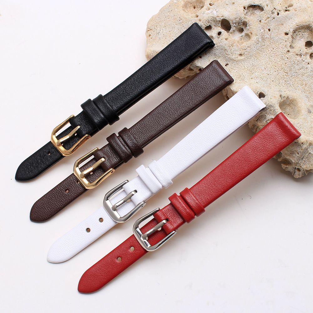 6mm 8mm 10mm 12mm noir petite taille bracelet qualité en cuir véritable bracelet de montre Ultra mince pour les femmes bracelet de montre