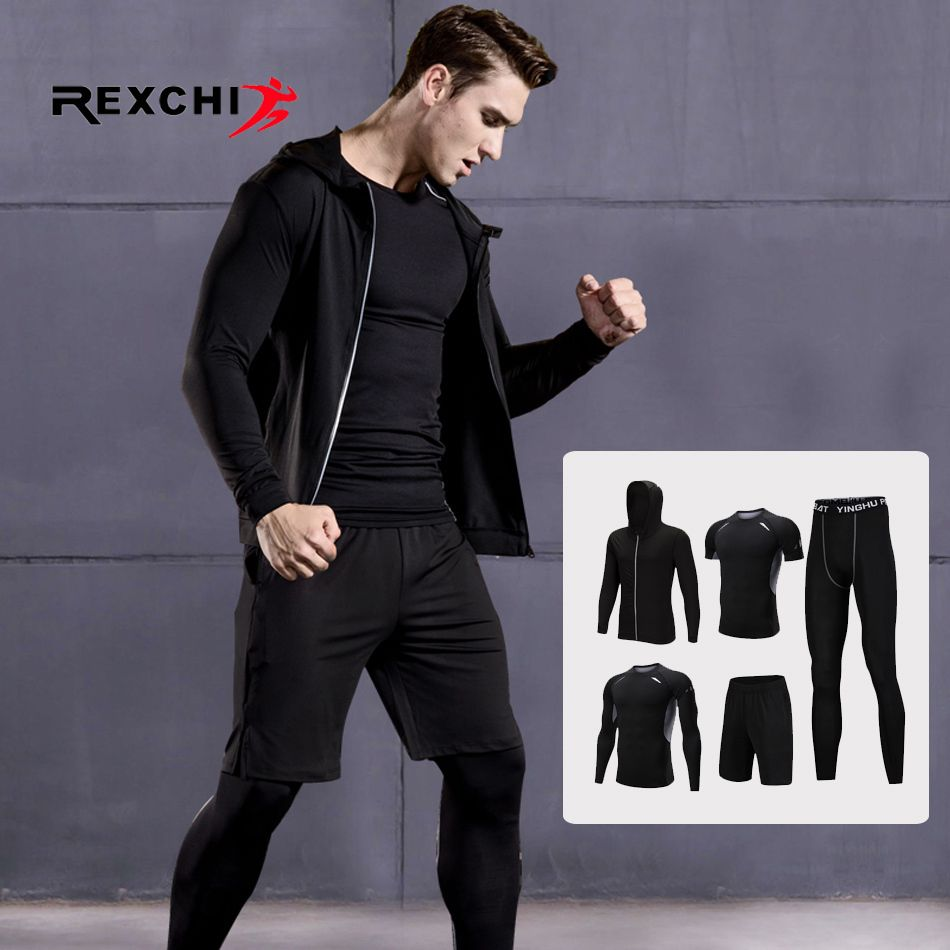 5 Pcs/Set Men Sports Suit Compression Underwear Outdoor Running Jogging Clothes T Shirt Pants Gym Fitness Workout Tights Costume