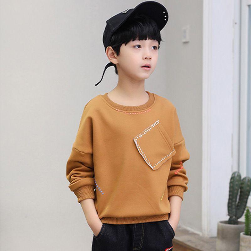 New Leisure Kids Children's Clothing sweatshirt for a boy jacket for a boy Bottom shirt children's wear Children's pocket 30#