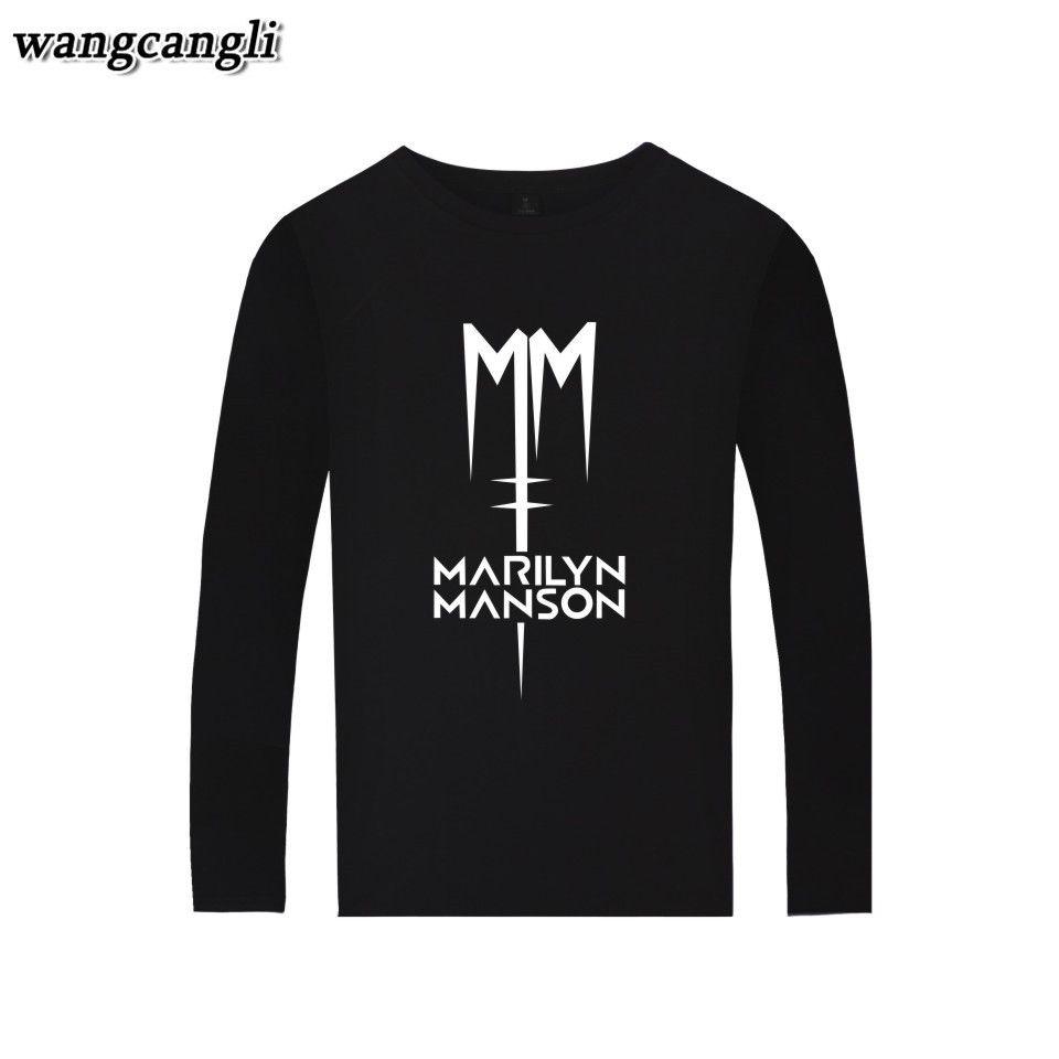 2017 Marilyn Manson Shirt Hot Rock Musik Frühling Baumwolle t-shirt Männer Langarm T-shirt Männer Plus Größe männer T-shirt
