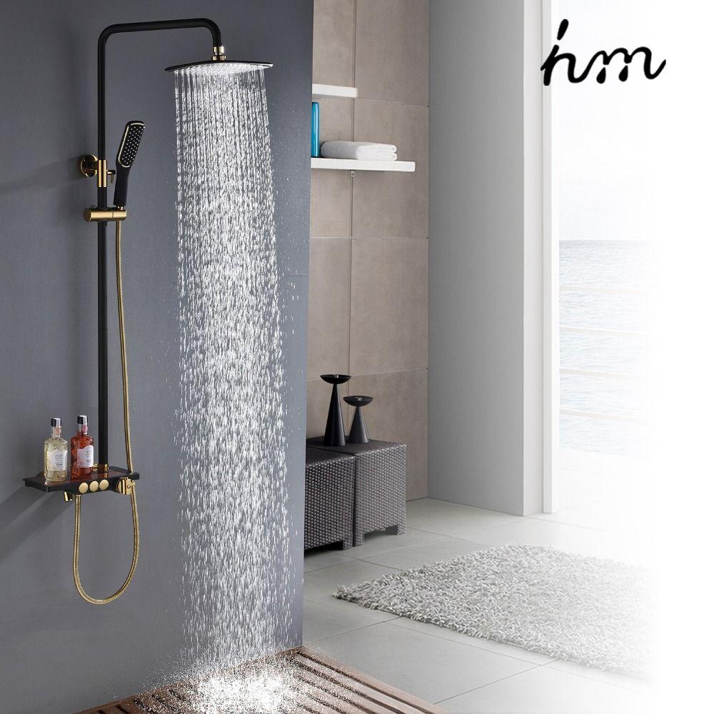 Hm Schwarz Niederschläge Thermostat Dusche Wasserhahn Set Einzigen Hebel Messing Mixer Ventil Rack Bad Dusche Mischer Rack dusche set