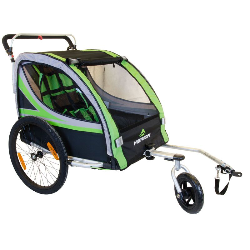 3 in1 20 Inch Air Inflatable Rubber Wheel Aluminum Alloy Frame Double Child Bike Trailer