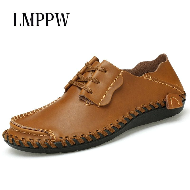 Luxury Brand Men's 100% Genuine Leather Handmade Boat Shoes Fashion Breathable Men Casual Leather Shoes Zapatos Hombre Sapatos 8