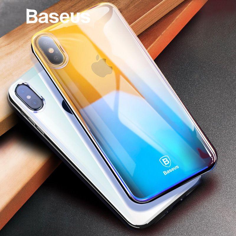 Baseus Luxus Gradienten Kunststoff Fall Für iPhone X Coque Mode Blau Ray Licht Harte Fall Für iPhone X