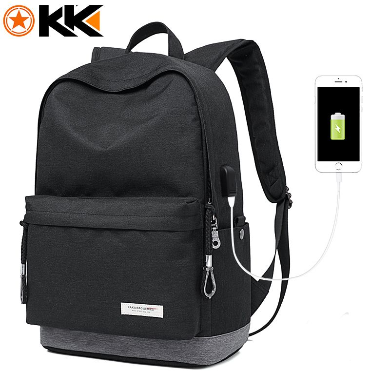 KAKA Casual Laptop Backpack Male USB Charging Nylon Waterproof Men Backpack Mochila Black Schoolbag Backpacks Bag for Teenagers