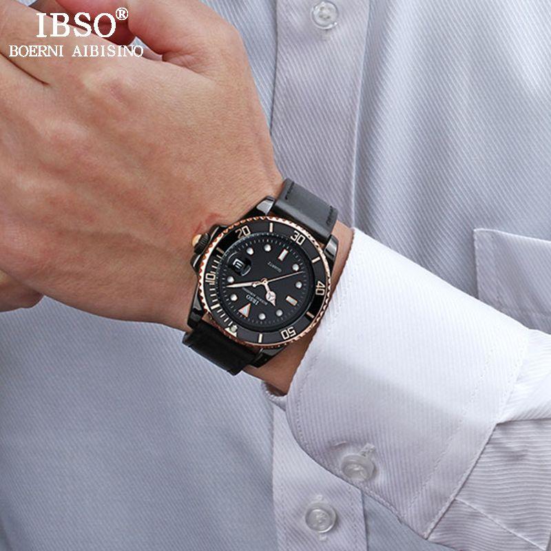 IBSO Hommes En Cuir Montres 2018 Top Marque De Luxe de Quartz Hommes Calendrier Complet Horloge Étanche Relogio Masculino #3961