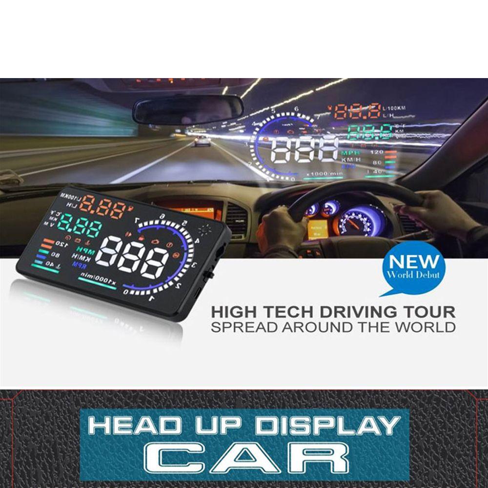 A8 5.5inch OBD II Car HUD Head Up Display Auto Window Reflective Screen Projector Speed Fatigue Warning RPM MPH Fuel Consumption