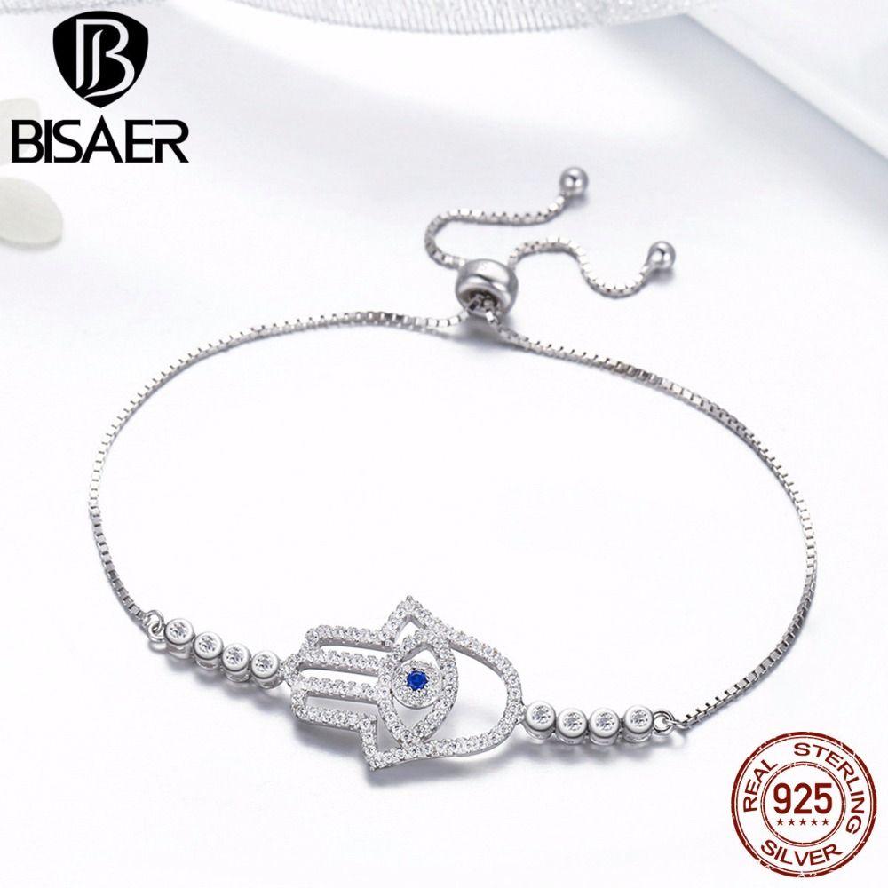 Classic 925 Sterling Silver Hamsa Hand Lace up Chain Link Strand Bracelets Women Tennis Bracelet Sterling Silver Jewelry GXB026