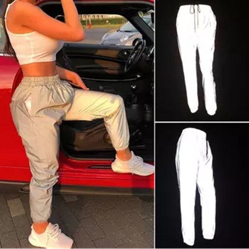 Pantalon réfléchissant Neuf Pantalon Harem pantalons décontractés Hip Hop Pantalons à Ceinture Élastique Réfléchissante 3m Dames Mode Faisceau Pied Harem 2019