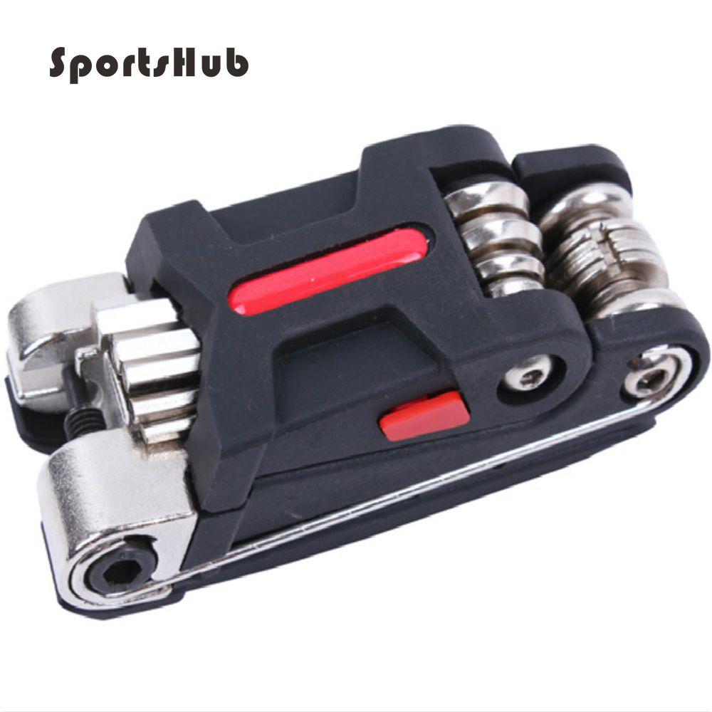 SPORTSHUB 9.5*3.8*3.8 CM 15 en 1 vélo Portable multifonction outils de réparation de vélo en alliage d'acier/ABS avancé C0022