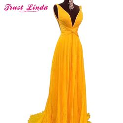 NEW Sexy Backless A Line Bridesmaid Dresses Vibrant Yellow Chiffon Long Women Prom Dress Vestido De Festa Customized Party Gown