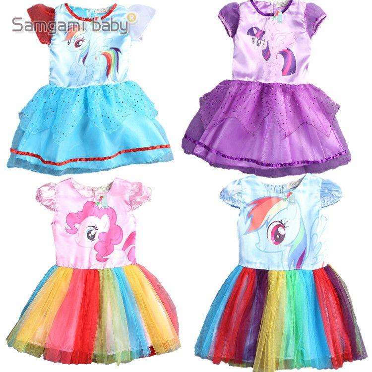 SAMGAMI BÉBÉ Nouveau D'été Mignon Robe Petites Filles Robe mon Poney Printemps Fille Manches Courtes Robes Mes filles Princesse petit Poney