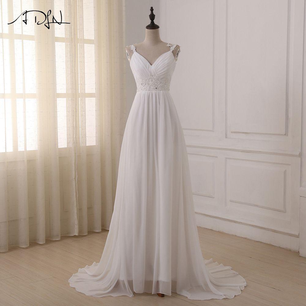 ADLN Beach Wedding Dress vestido de noiva In Stock Plus Size Spaghetti Straps Chiffon Wedding Gowns Bridal Dresses