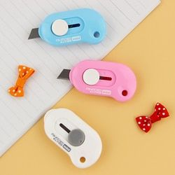1PC Cute Solid Color Mini Portable Utility Knife Paper Cutter Cutting Paper Razor Blade Office Stationery Escolar Papelaria