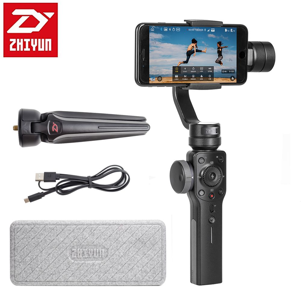 Zhiyun Smooth 4 3-Axis Handheld Gimbal <font><b>Portable</b></font> Stabilizer for iPhone X 8Plus 8 7Plus 7 6S S9 S8 S7 Action Camera Vertical Shoot