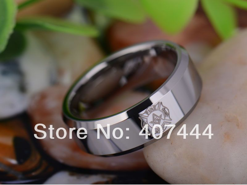 Free Shipping USA UK Canada Russia Brazil Hot Sales 8MM Polished Silver Beveled Firefighter MASON Tungsten Carbide Wedding Ring
