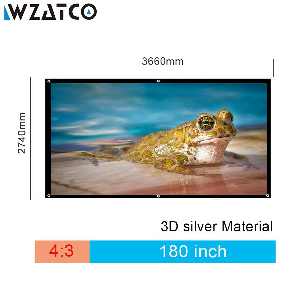 WZATCO 180 inch 4:3 Portable Foldable HD 3D Silver Projection Fabric Screen Without Frame Screen Projection Film Free Shipping