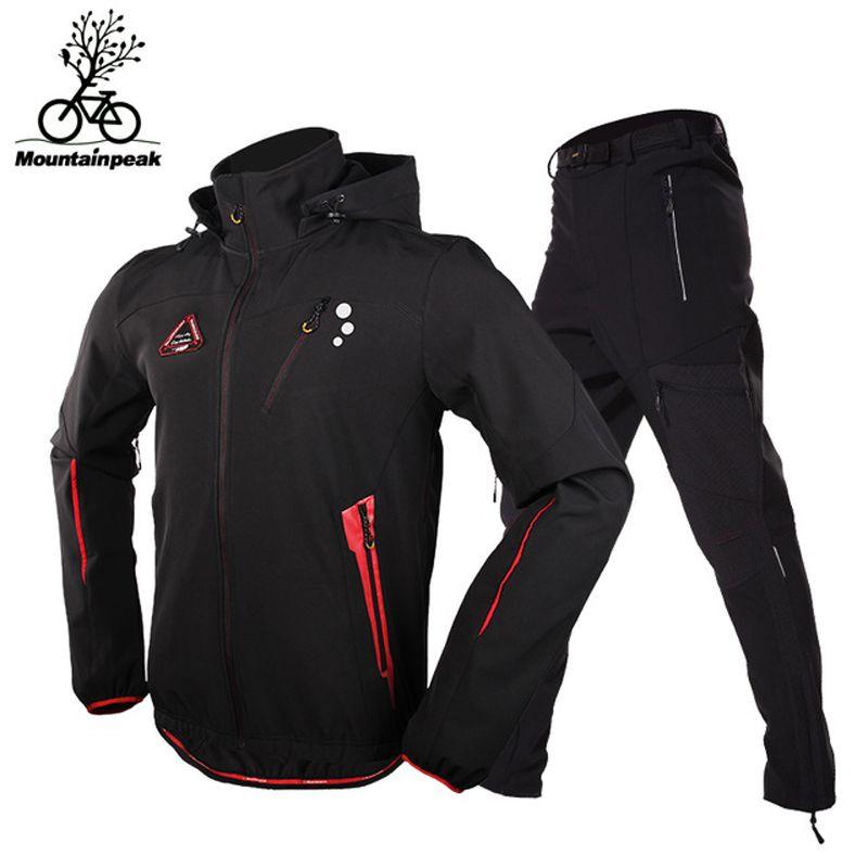 MTP Men Camping Hiking Jacket Pants 1 Set Outdoor Waterproof Windproof With Thicken Fleece Climbing Jackets&Pants Size S-3XL