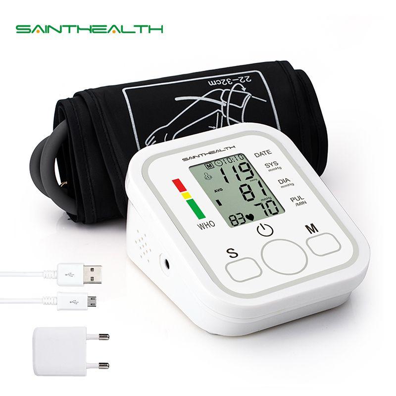 Automatic Digital Lcd Upper Arm Blood Pressure Monitor Heart Beat Rate Pulse Meter Tonometer Sphygmomanometers pulsometer
