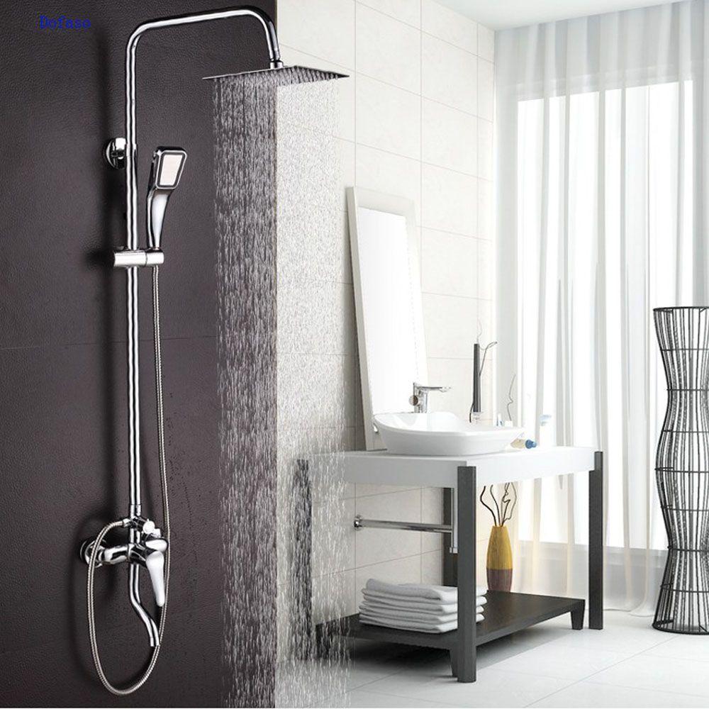 Dofaso медь Ванная комната наборы тропический душ Для ванной коснитесь смеситель для душа Chrome Для ванной смесители дождь и водопад душем эконо...