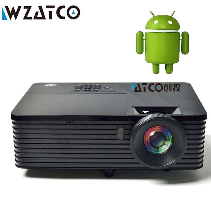 Wzatco 6000 ANSI LM USB HDMI Quad Core Android 5.1 WiFi smart Iglesia datos 1080 p 3D luz del proyector HD Beamer proyector