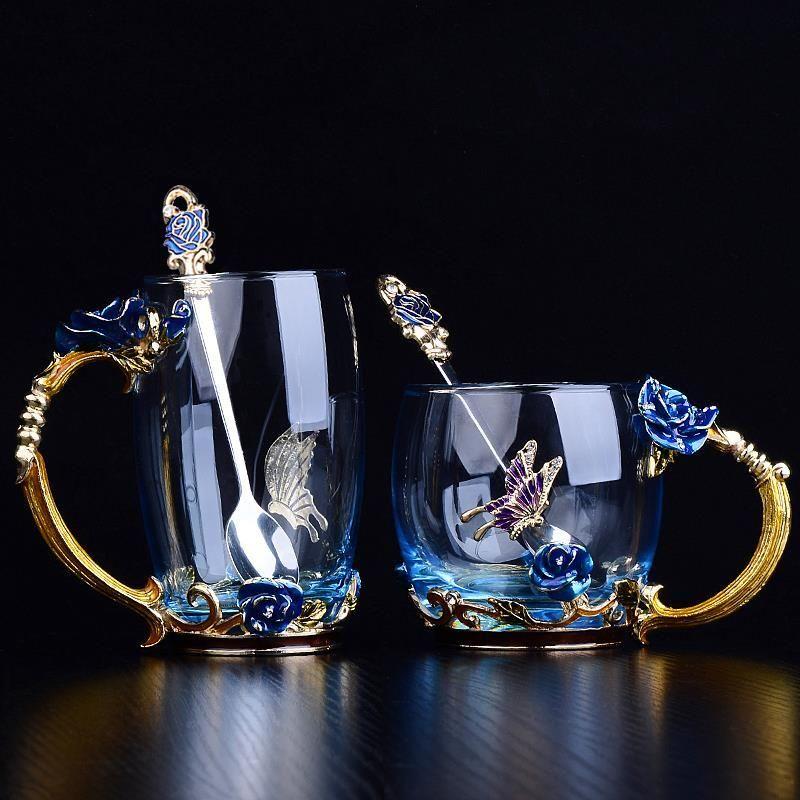 Beauté et nouveauté émail tasse à café tasse fleur thé verre tasses pour boissons chaudes et froides thé tasse cuillère ensemble parfait cadeau de mariage